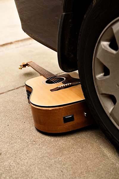 broken guitar cracked